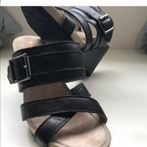 Black leather  wedge sandals Sz 8